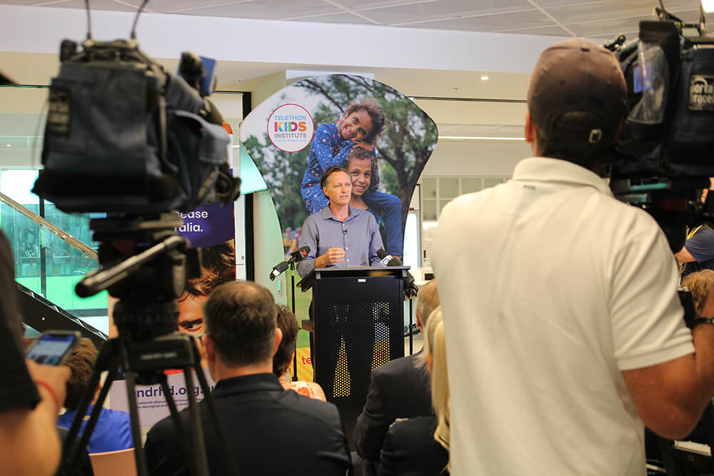 Professor Jonathan Carapetis speaking addressing the media
