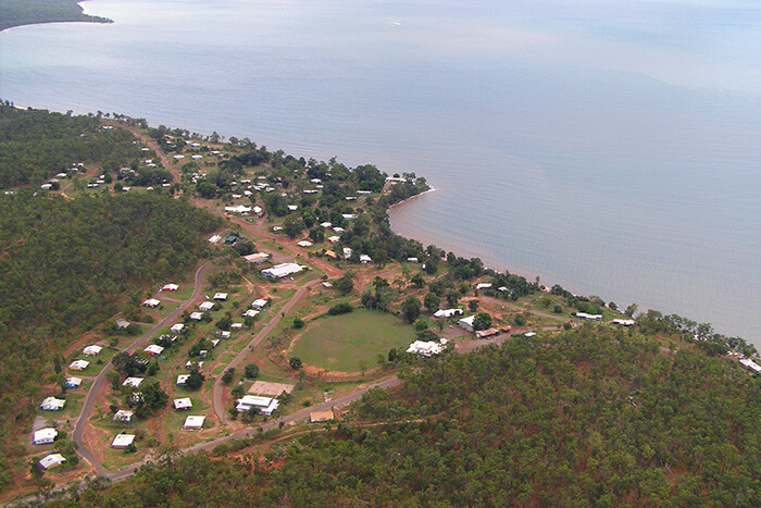 An aerial shot of one of the END RHD Demonstration Communities in the Tiwi Islands